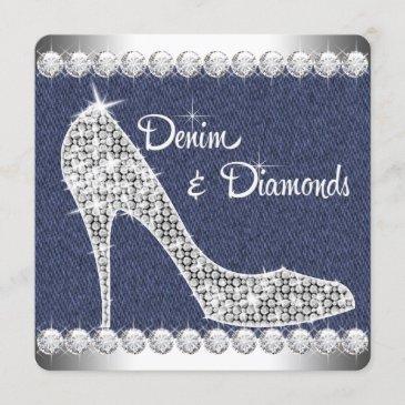 denim and diamonds birthday party invitation