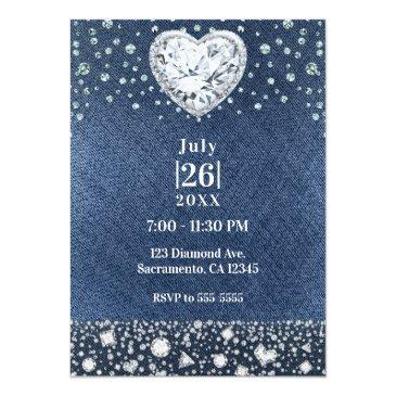 Small Denim & Bling Diamonds Sweet 16 Birthday Party Invitations Back View