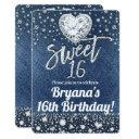 denim & bling diamonds sweet 16 birthday party invitations