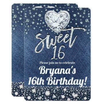 denim & bling diamonds sweet 16 birthday party invitation