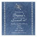 denim diamonds bling emblem sweet 16 invitation