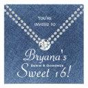 denim diamonds bling envelope sweet 16 invitations