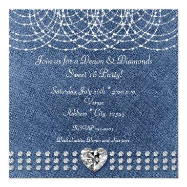 Small Denim & Diamonds Bling Heart Sweet 16 Party Invitations Back View