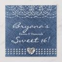 denim & diamonds bling heart sweet 16 party invitation