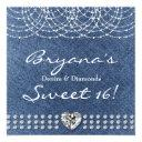 denim & diamonds bling heart sweet 16 party invitations