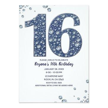 Small Denim & Diamonds Bling Sparkle Sweet 16 Birthday Invitations Front View