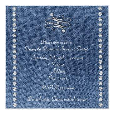 Small Denim & Diamonds Emblem Sweet 16 Invitation Back View