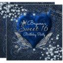 denim & diamonds heart sweet 16 party invitations