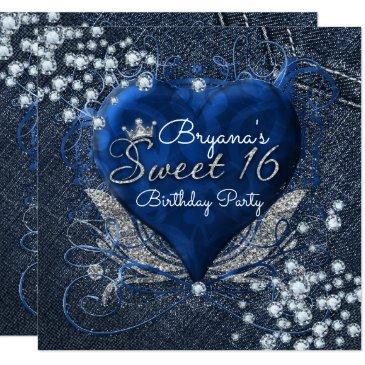 denim & diamonds heart sweet 16 party