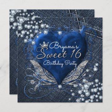 denim & diamonds heart sweet 16 party invitations