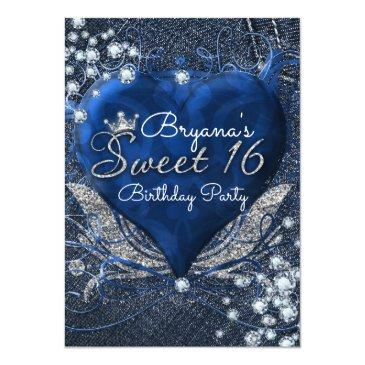 Small Denim & Diamonds Heart Sweet 16 Party Invitations Front View