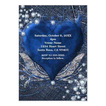 Small Denim & Diamonds Heart Sweet 16 Party Invitations Back View