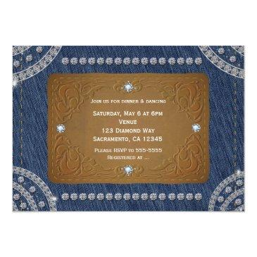 Small Denim & Diamonds Jeans Label Party Invitations Back View