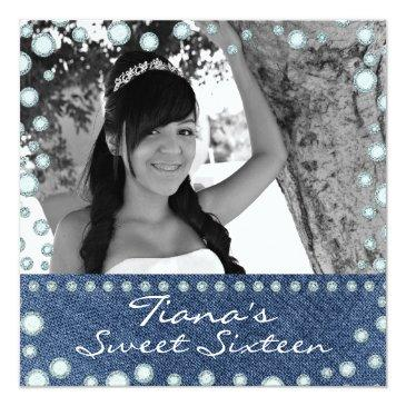 Small Denim Diamonds Picture Photo Sweet 16 Invitation Front View
