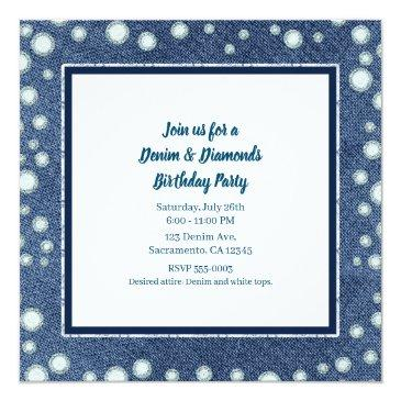 Small Denim Diamonds Picture Photo Sweet 16 Invitation Back View