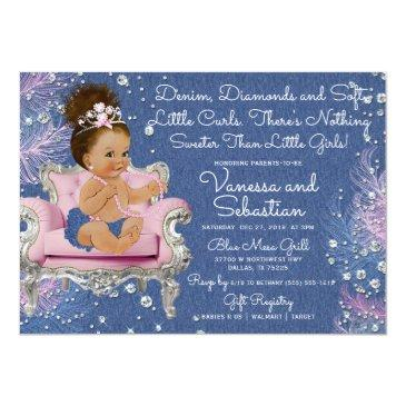 Small Denim & Diamonds Princess Pink And Silver Invitation Front View
