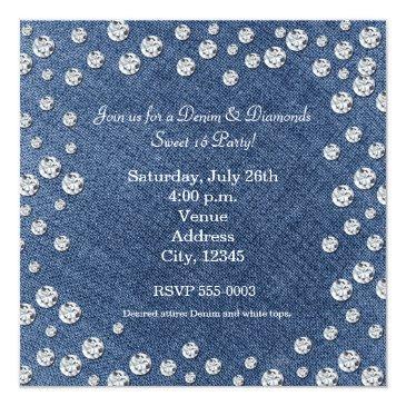 Small Denim Diamonds Scattered Bling Sweet 16 Invitation Back View