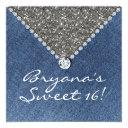 denim diamonds silver glitter sweet 16 invitation