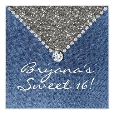 Small Denim Diamonds Silver Glitter Sweet 16 Invitation Front View