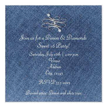 Small Denim Diamonds Silver Glitter Sweet 16 Invitation Back View