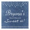 denim diamonds sparkle bling sweet 16 invitations