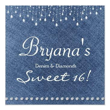 Small Denim Diamonds Sparkle Bling Sweet 16 Invitation Front View