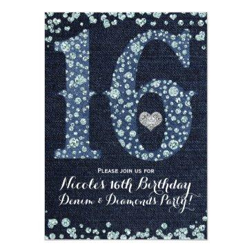 Small Denim & Diamonds Sweet 16 16th Birthday Party Invitations Front View