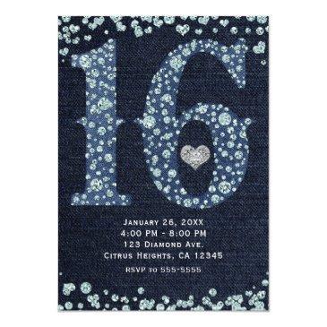 Small Denim & Diamonds Sweet 16 16th Birthday Party Invitations Back View