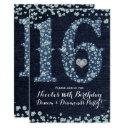 denim & diamonds sweet 16 16th birthday party invitation