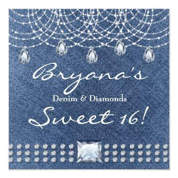 Small Denim Diamonds Teardrop Bling Sweet 16 Invitation Front View