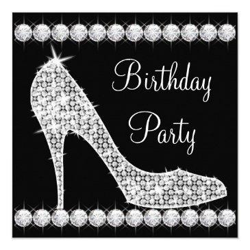 Small Diamond Black High Heel Shoe Birthday Party Front View