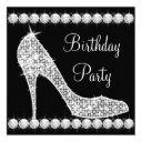 diamond black high heel shoe birthday party invitation