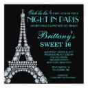 diamond eiffel tower custom sweet 16 invitation