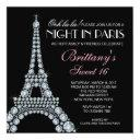 diamond eiffel tower custom sweet 16 invitations