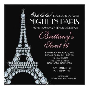 Small Diamond Eiffel Tower Custom Sweet 16 Invitation Front View