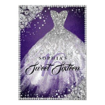 Small Diamond Lace Sparkle Gown Purple Silver Sweet 16 Invitation Front View