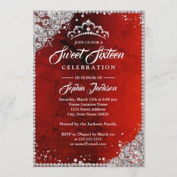 diamond lace sparkle red sweet sixteen invitation