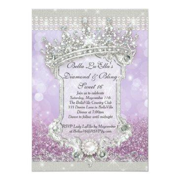 Small Diamonds And Bling Sweet 16 Quince Invitations Front View