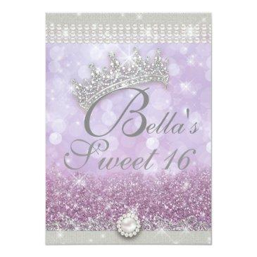 Small Diamonds And Bling Sweet 16 Quince Invitations Back View