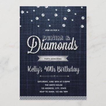 diamonds denim party invitation