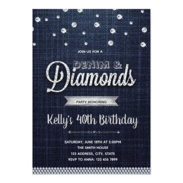 Small Diamonds Denim Party Invitation Front View