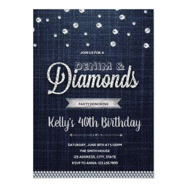 diamonds denim party invitation