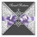 diamonds purple and black sweet 16 birthday party invitation