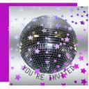 disco birthday purple   retro 70s disco party invitation