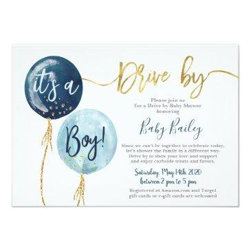 Small Drive By Baby Shower Boy Invitation Front View