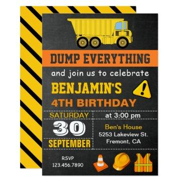 dump truck construction birthday party invitation