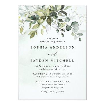 Small Dusty Blue Eucalyptus Greenery Succulent Wedding Invitation Front View