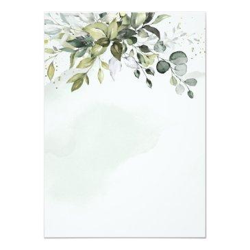 Small Dusty Blue Eucalyptus Greenery Succulent Wedding Invitation Back View