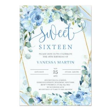 Small Dusty Blue Floral Gold Geometric Sweet Sixteen Invitation Front View