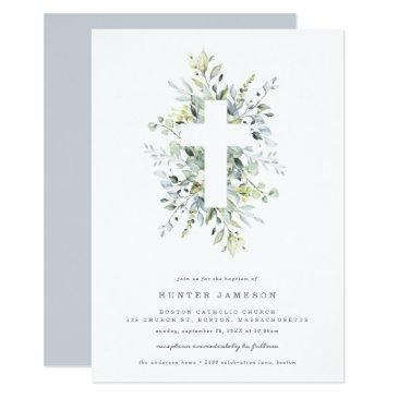 dusty blue florals baptism invitation